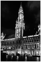 Town hall, Grand Place, dusk. Brussels, Belgium ( black and white)