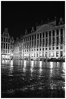 Grand Place at night. Brussels, Belgium ( black and white)