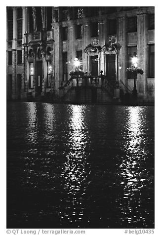 Lights reflected in wet cobblestones, Grand Place. Brussels, Belgium (black and white)