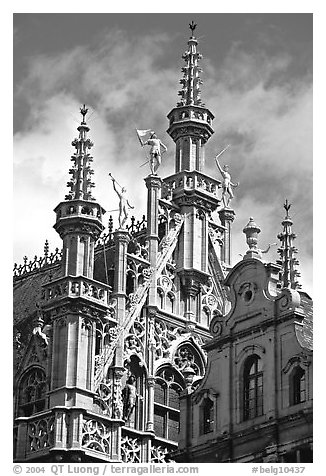 Roof of King's house, Grand Place. Brussels, Belgium (black and white)