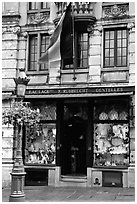 Lace store with Belgian flag, Grand Place. Brussels, Belgium (black and white)