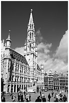 Grand Place and town hall. Brussels, Belgium ( black and white)