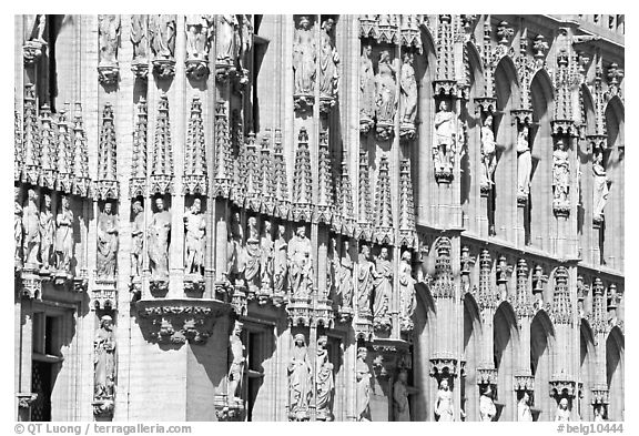 Detail of the gothic town hall facade. Brussels, Belgium (black and white)