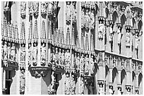 Detail of the gothic town hall facade. Brussels, Belgium ( black and white)