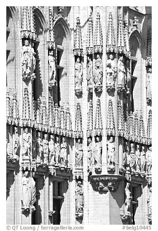 Detail of the gothic town hall. Brussels, Belgium (black and white)