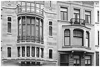 Hotel Tassel, an Art Nouveau townhouse. Brussels, Belgium ( black and white)