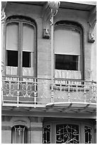 Balcony of Horta Museum in Art Nouveau style. Brussels, Belgium ( black and white)