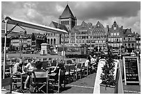Outdoor cafe terrace, Grand Place. Tournai, Belgium ( black and white)