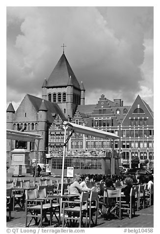 Outdoor cafe terrace, Grand Place. Tournai, Belgium (black and white)