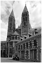 Notre Dame Cathedral, in romanesque style. Tournai, Belgium ( black and white)