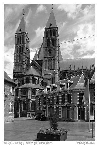 Notre Dame Cathedral, completed in the 12th century. Tournai, Belgium (black and white)