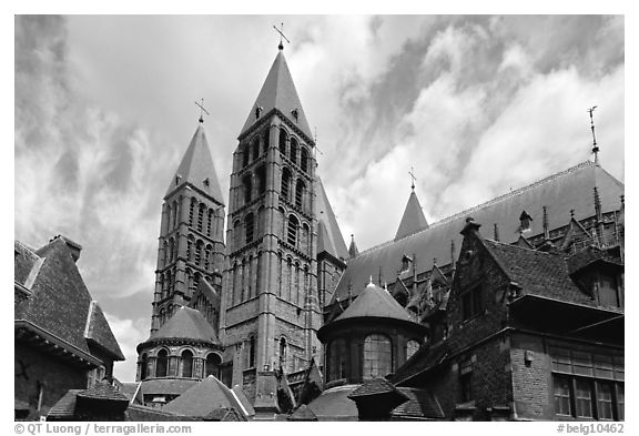 Notre Dame Cathedral. Tournai, Belgium (black and white)