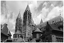 Notre Dame Cathedral. Tournai, Belgium ( black and white)