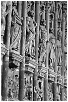 Carvings outside of Notre Dame Cathedral. Tournai, Belgium ( black and white)