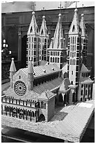 Model of Notre Dame Cathedral. Tournai, Belgium ( black and white)