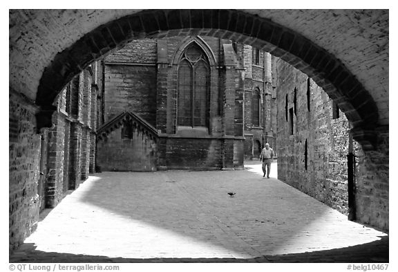 Arch ouside Notre Dame Cathedral. Tournai, Belgium (black and white)