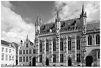 Gothic Town hall. Bruges, Belgium ( black and white)