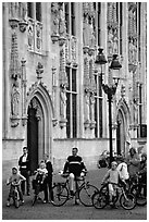 People standing on the Burg, in front of the Stadhuis. Bruges, Belgium ( black and white)