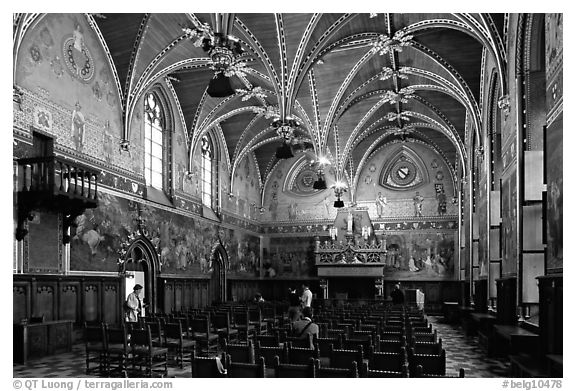 Gothic Hall of the town hall. Bruges, Belgium (black and white)