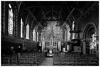 Upper Chapel of the Basilica of Holy Blood (Heilig-Bloedbasiliek). Bruges, Belgium (black and white)