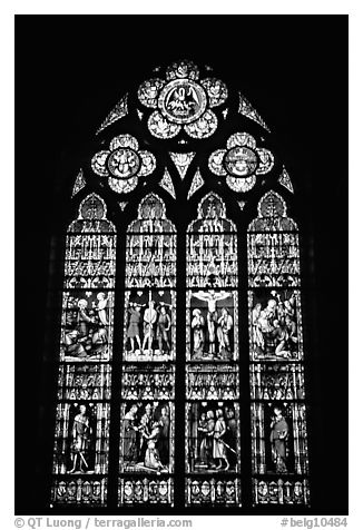black and white picture photo glass stained window in the basilica of holy blood bruges belgium. Black Bedroom Furniture Sets. Home Design Ideas