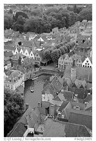 Canals and rooftops. Bruges, Belgium (black and white)