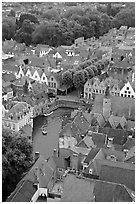 Canals and rooftops. Bruges, Belgium ( black and white)