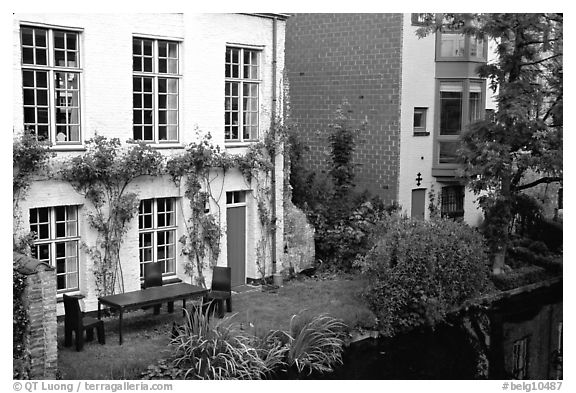 Houses by the canal. Bruges, Belgium (black and white)