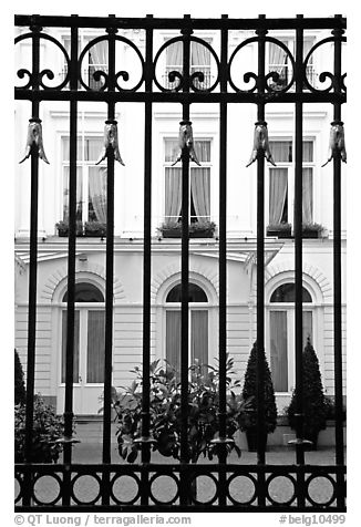 Palace and forged metal gates. Bruges, Belgium (black and white)