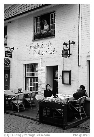 Restaurant. Bruges, Belgium (black and white)