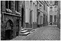 Coblestone street. Bruges, Belgium (black and white)