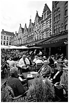 People in restaurants on the Markt. Bruges, Belgium ( black and white)