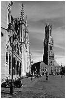 Belfry and Provinciaal Hof. Bruges, Belgium ( black and white)