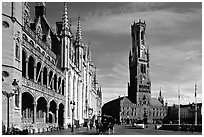 Provinciall Hof in neo-gothic style and beffroi. Bruges, Belgium ( black and white)