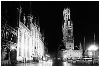 Provinciall Hof and belfort at night. Bruges, Belgium (black and white)