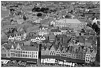 View of the town from the belfry. Bruges, Belgium (black and white)