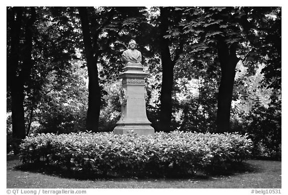 Statue in a park. Bruges, Belgium (black and white)