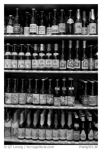 Large selection of bottled beers. Bruges, Belgium (black and white)