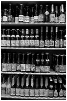 Large selection of bottled beers. Bruges, Belgium ( black and white)