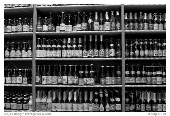 Beer bottles. Bruges, Belgium (black and white)