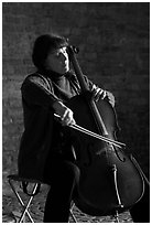 Woman cellist. Bruges, Belgium ( black and white)