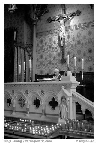 Priest during the Holy Blood liturgy. Bruges, Belgium (black and white)