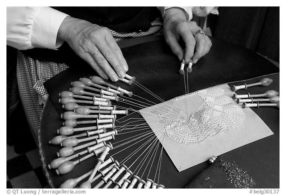 Lacemaker's hand at work. Bruges, Belgium (black and white)