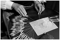 Lacemaker's hand at work. Bruges, Belgium ( black and white)
