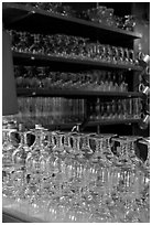 Glasses of various shapes used to drink beer. Brussels, Belgium ( black and white)