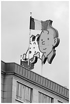 Tintin, Milou, and Belgian flag. Brussels, Belgium (black and white)