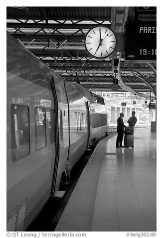 High speed train in the station. Brussels, Belgium
