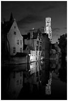 Old houses and belfry Quai des Rosaires, night. Bruges, Belgium (black and white)