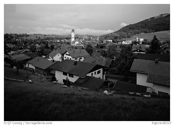 View of Nesselwang. Bavaria, Germany (black and white)