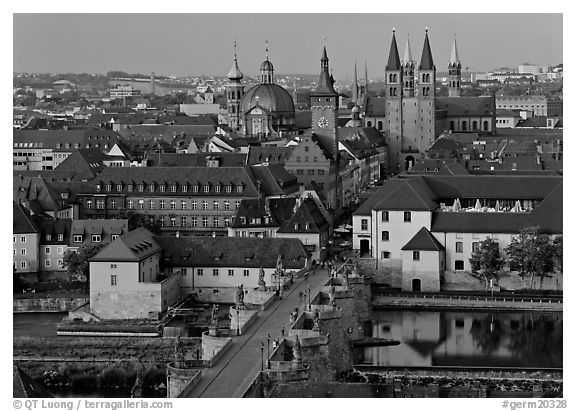 Alte Mainbrucke bridge and Neumunsterkirche church. Germany (black and white)
